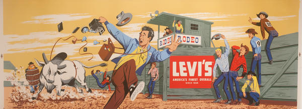 Original Huge Levi's Advertising Poster Photographer Chased by Bull