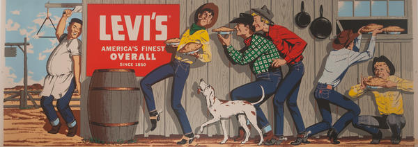 Original Huge Levi's Advertising Poster, Cowboys Stealing Pies