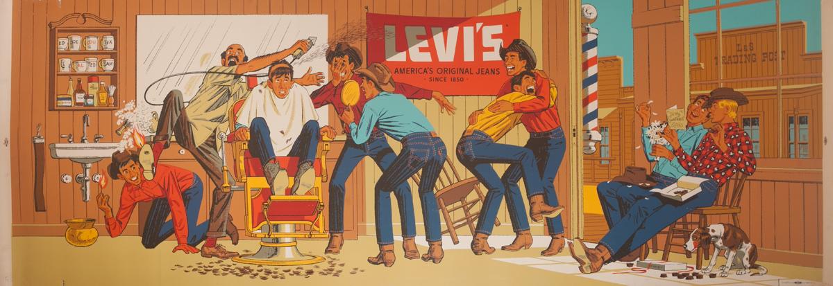 Original Huge Levi's Advertising Poster Cowboy Barber Shop