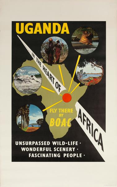 Uganda, In the Heart of Africa, Original BOAC Travel Poster
