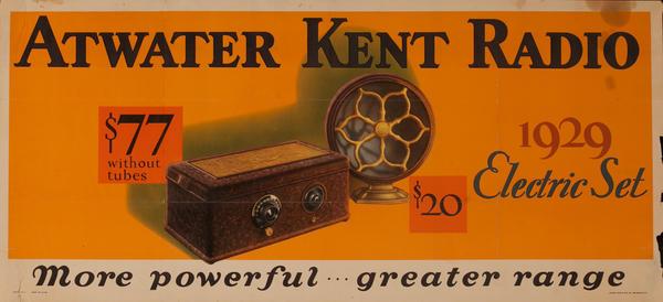 Atwater Kent Radio, Original American Advertising Poster, 1929 Electric Set $77