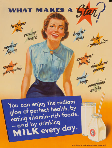 What Makes a Star? Milk Every Day, Original American Health Poster