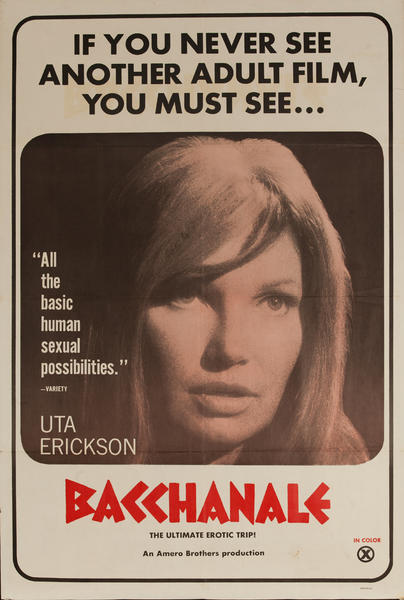 Bacchanale, Original American X Rated Adult Movie Poster
