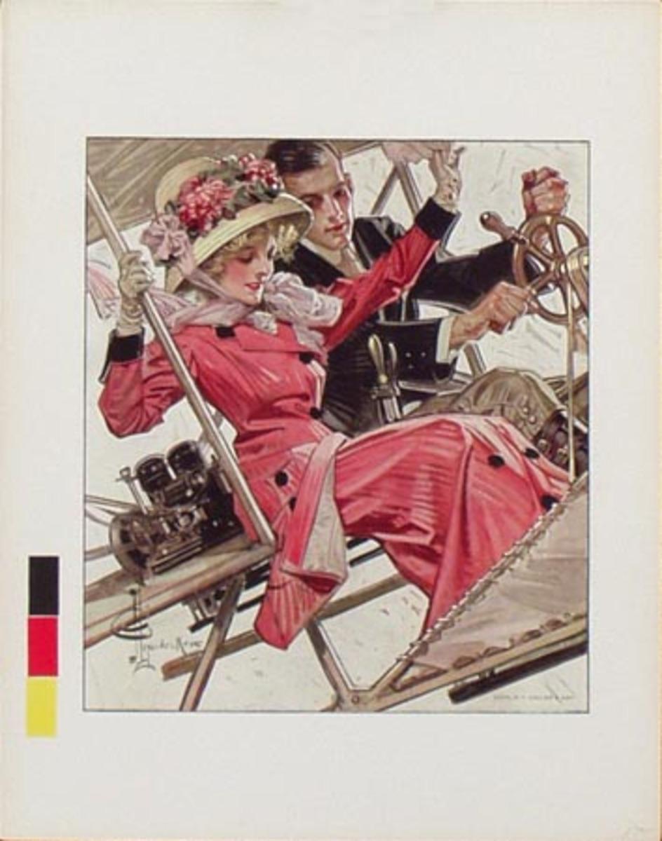 Original Vintage Illustration Print Airplane Couple JC Leyendecker