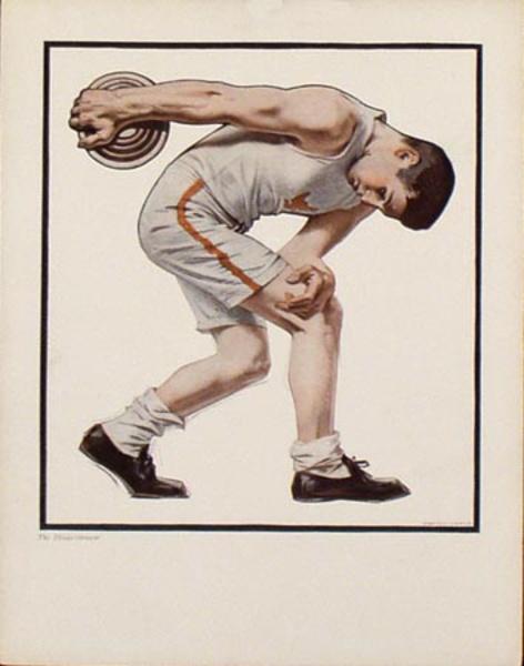 Original Illustration Print Discuss Thrower JC Leyendecker
