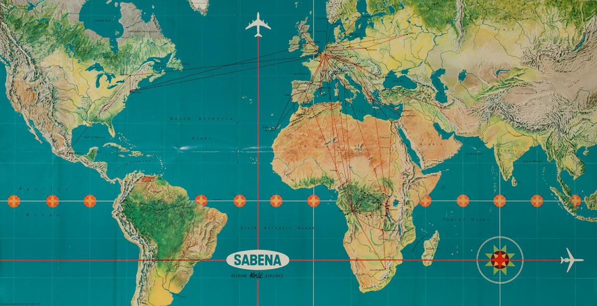 Sabena, World Route Map Poster