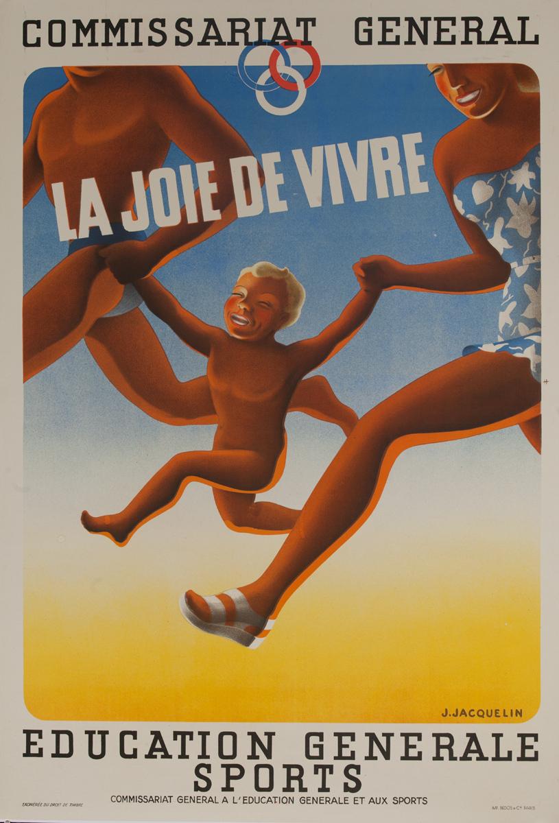 Commissariat General, La Joie De Vivre, Original Vichy France WWII Poster