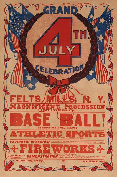 Grand 4th (of July) Celebration Base Ball Fireworks, Felt mills New York, Original American Advertising Poster