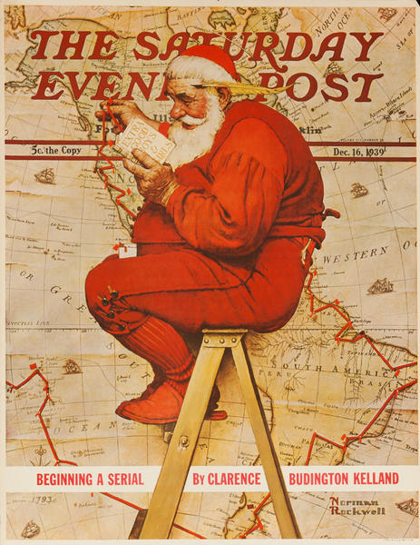 Saturday Evening Post Original Advertising Poster, December 16, 1939