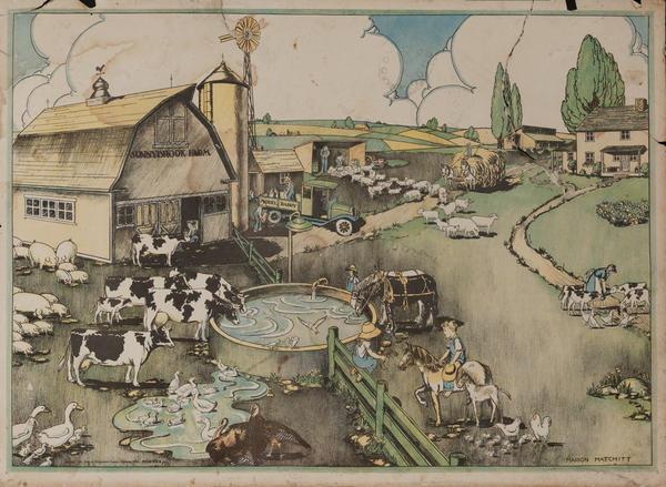American Schoolhouse Poster, Farm Scene