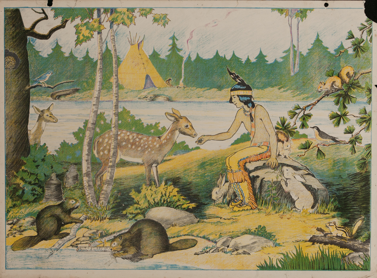 American Schoolhouse Poster, Native American with Deer