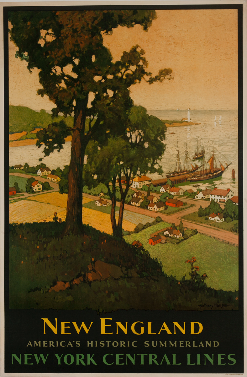 New England, America's Historic Summerland, Original New York Central Lines Railroad Advertising Poster