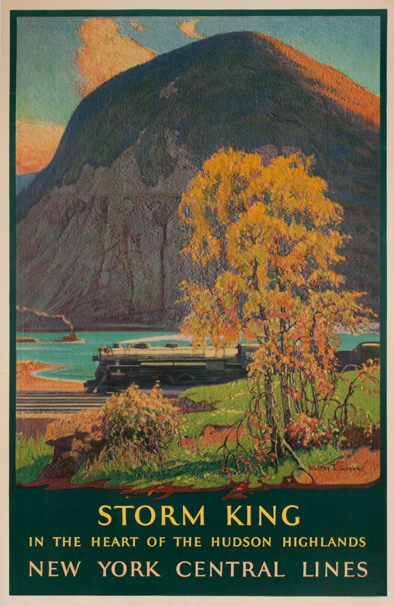 Storm King, In The Heart of the Hudson Highlands, Original New York Central Lines Railroad Advertising Poster