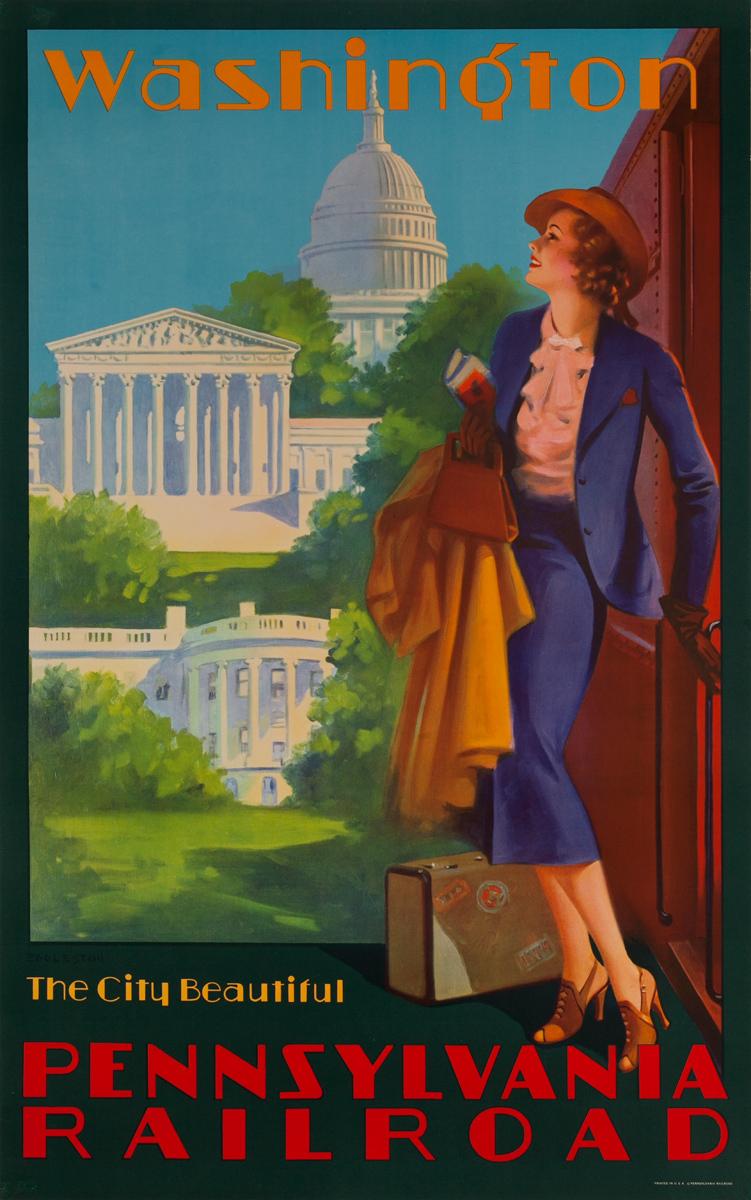 Washington, The City Beautiful, Original Pennsylvania Railroad Poster, Eggleston