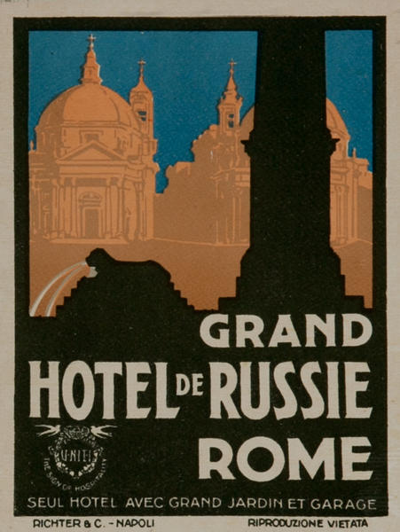 Grand Hotel de Russie Rome, Original Italian Travel Luggage Label