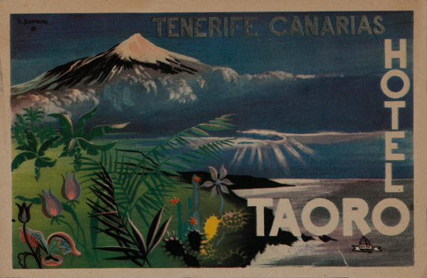 Tenerife Canarias Hotel Taoro, Original Travel Luggage Label
