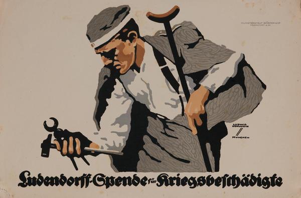 Ludendorff Fund For Disabled Veterans, Original WWI German Propaganda Poster