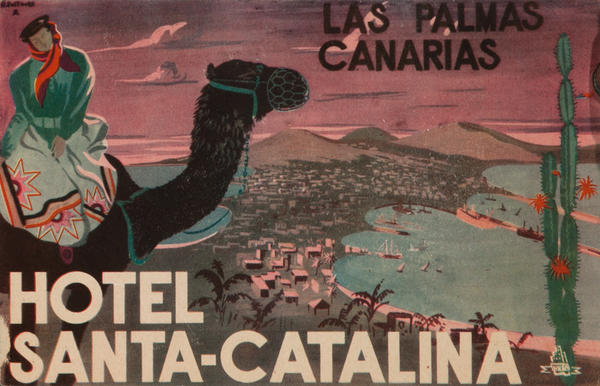 Las Palmas Canarias Hotel Santa-Catalina, Original Canary Islands Travel Luggage Label