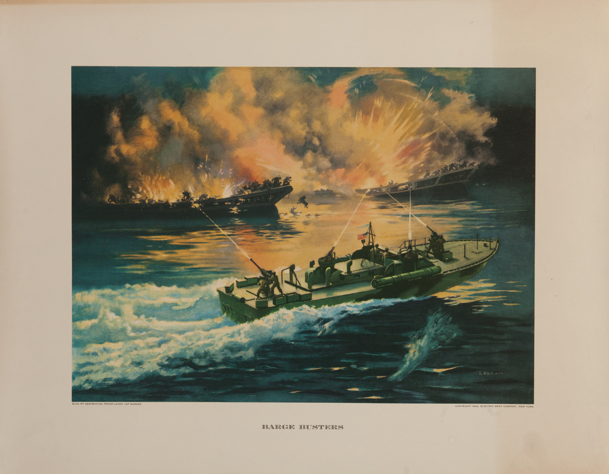 Barge Busters,  Original Electric Boat Company, WWII Poster
