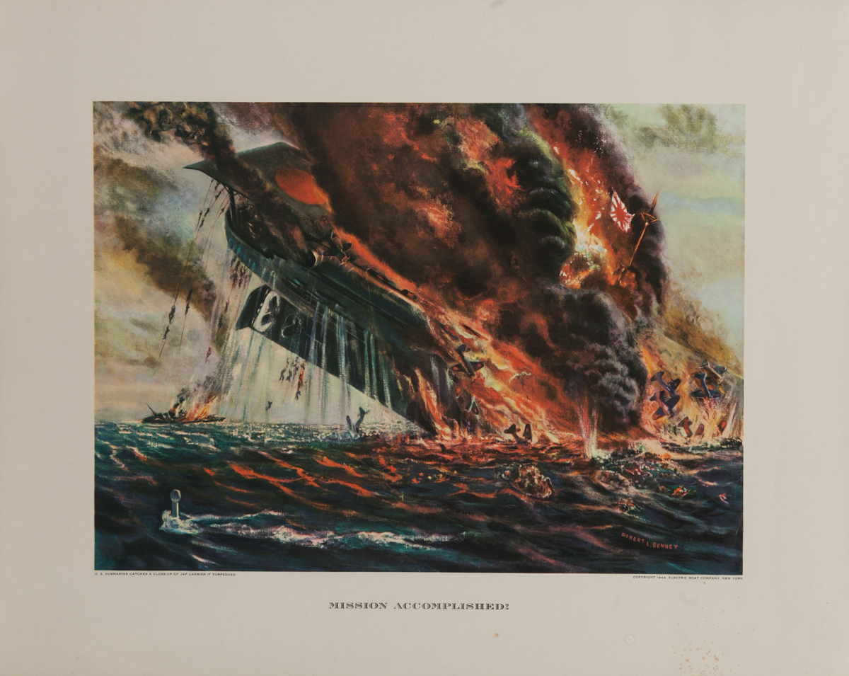 Mission Accomplished,  Original Electric Boat Company, WWII Poster
