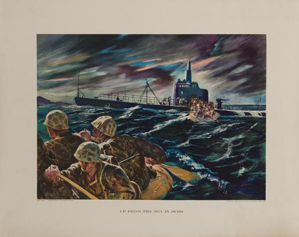 Up From the Sea in Subs,  Original Electric Boat Company, WWII Poster