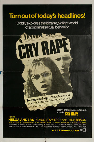 Cry Rape, Original One Sheet X Rated Movie Poster