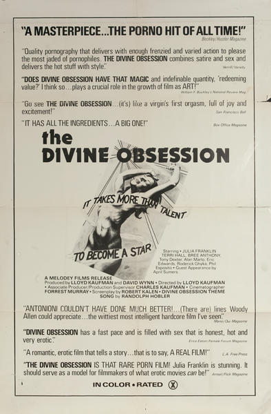 The Divine Obsession, Original One Sheet X Rated Movie Poster