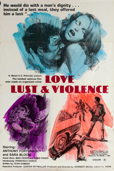 Love Lust and Violence, (Mafia Girls), Original One Sheet X Rated Movie Poster