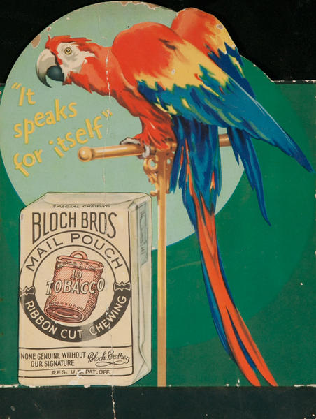 It Speaks for Itself, Bloch Bros, Mail Pouch Tobacco Original Advertising Stand Up Poster