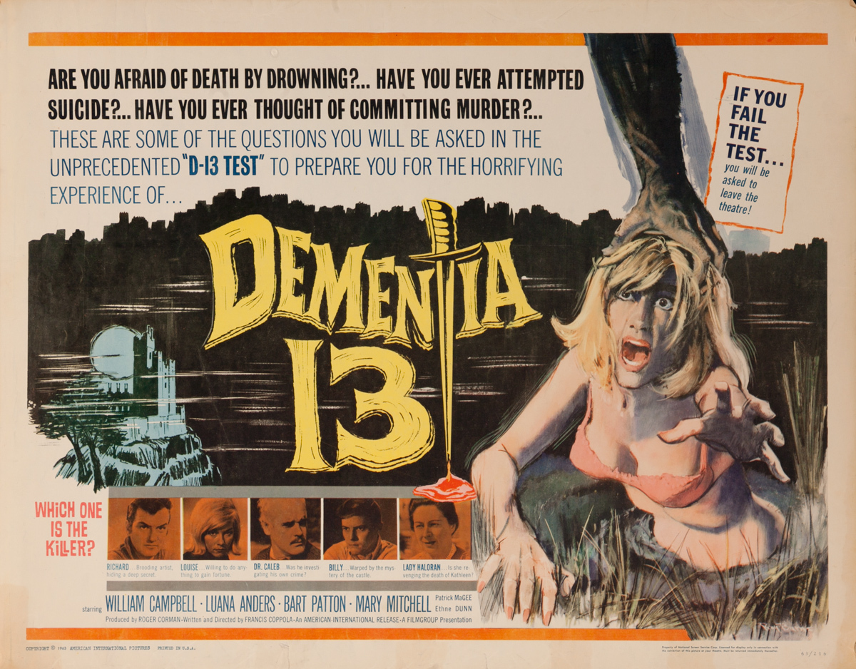 Dementia 13, Original American Horror Movie Poster