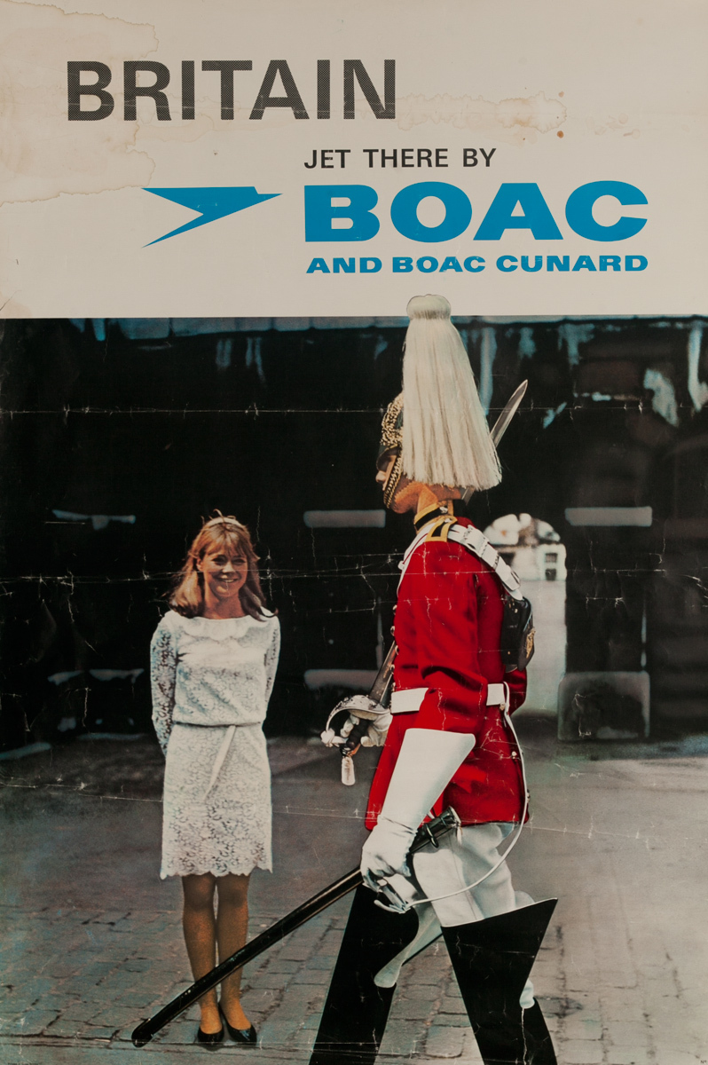 Britain Jet there by BOAC and BOAC Cunard, Original Travel Poster