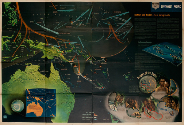 NavWarMap No 5, Southwest Pacific, Original WWII Poster