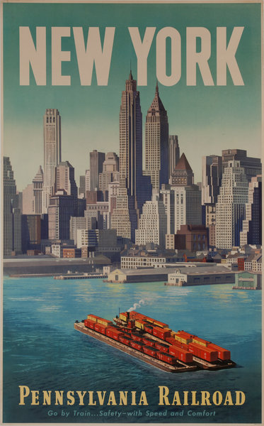 New York, Pennsylvania Railroad, Go by Train... Safety - with Speed and Comfort