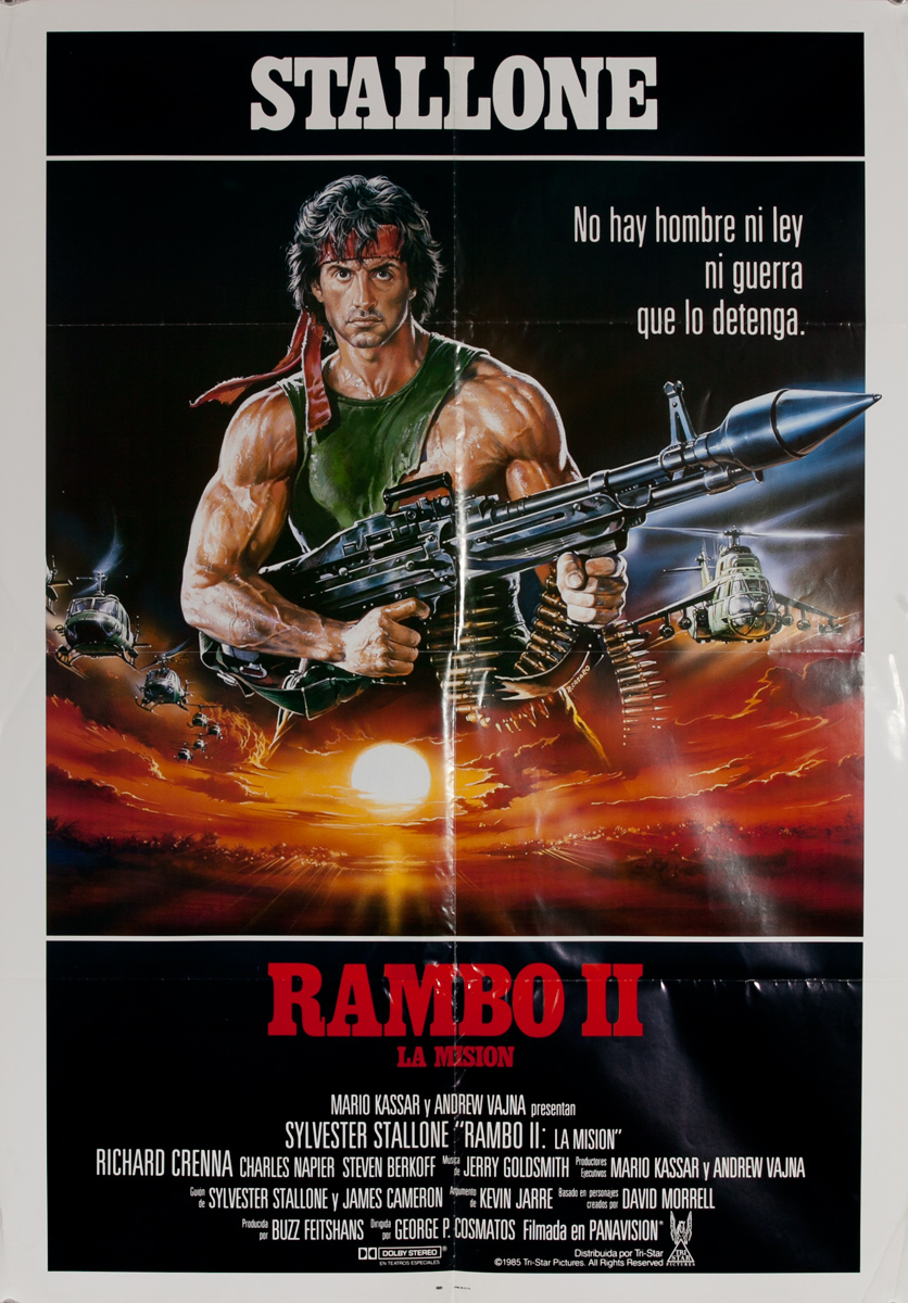 Rambo II, La Mission, (English Title: Rambo II, First Blood Part II Original Spanish Language 1 Sheet Movie Poster