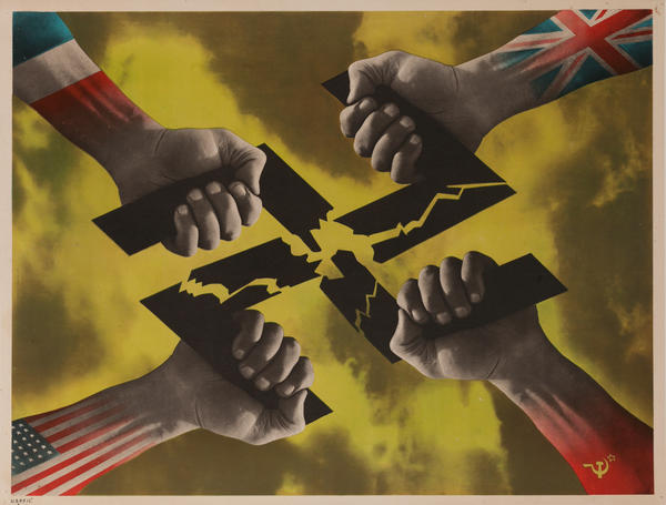 Allied Hands Breaking Swastika, Original American WWII Liberated France Poster
