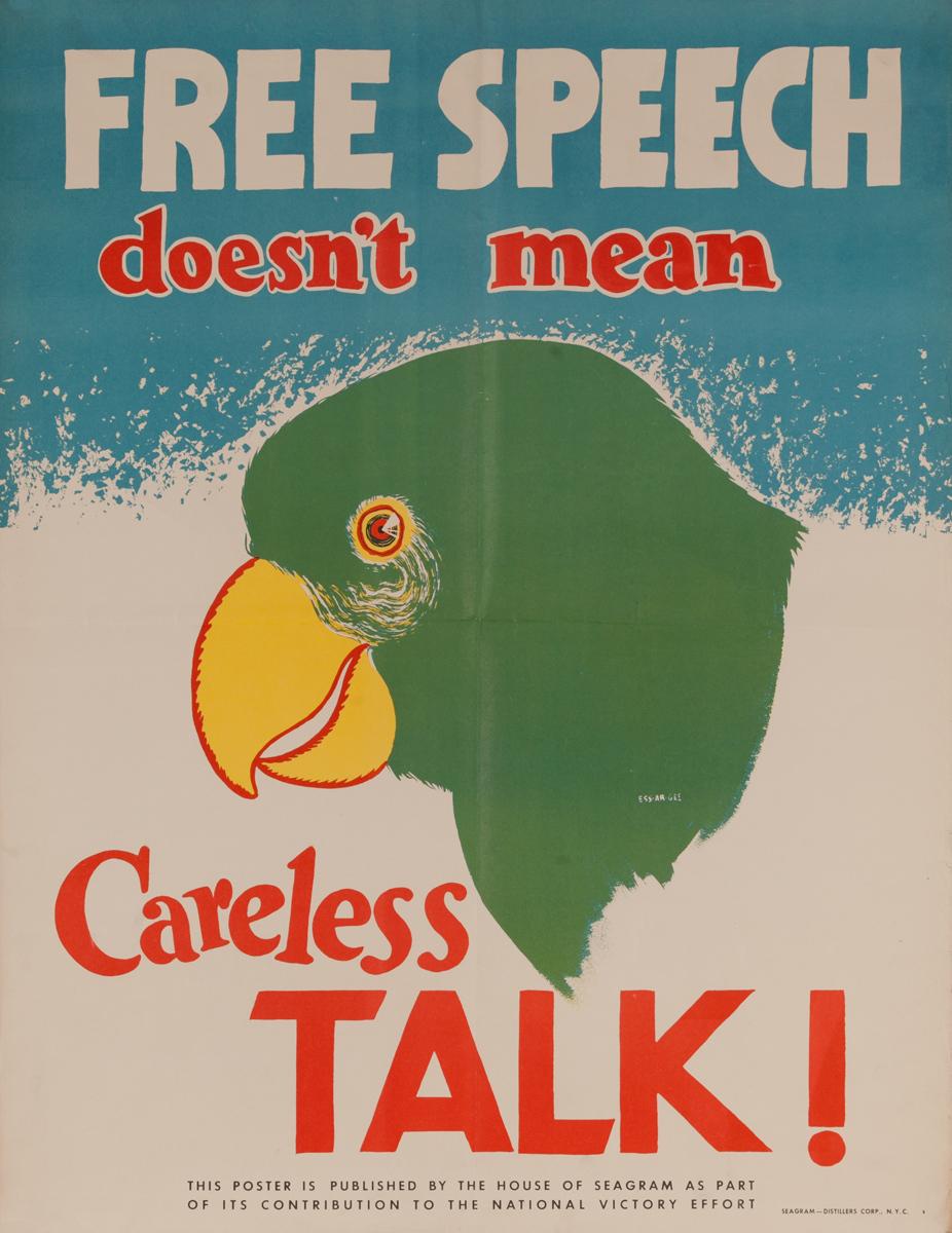 Free Speech Does Not Mean Careless Talk, Original WWII Poster