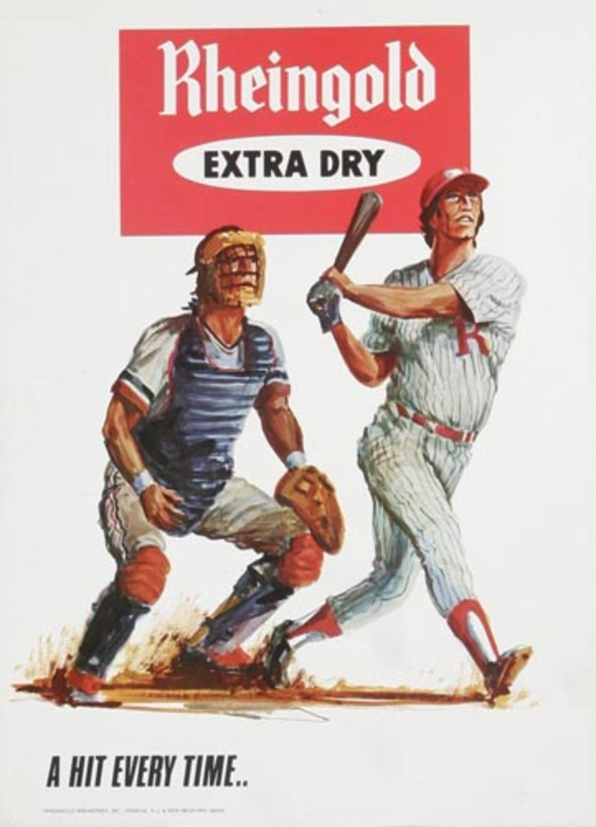 Rheingold Beer Baseball Players Original Vintage Advertising Poster