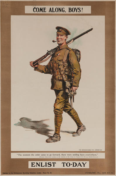 Come Along, Boys Enlist To-Day, Original British WWI Poster