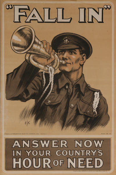 Fall In Anwer Now in Your Country's Hour of Need, Original British WWI Poster
