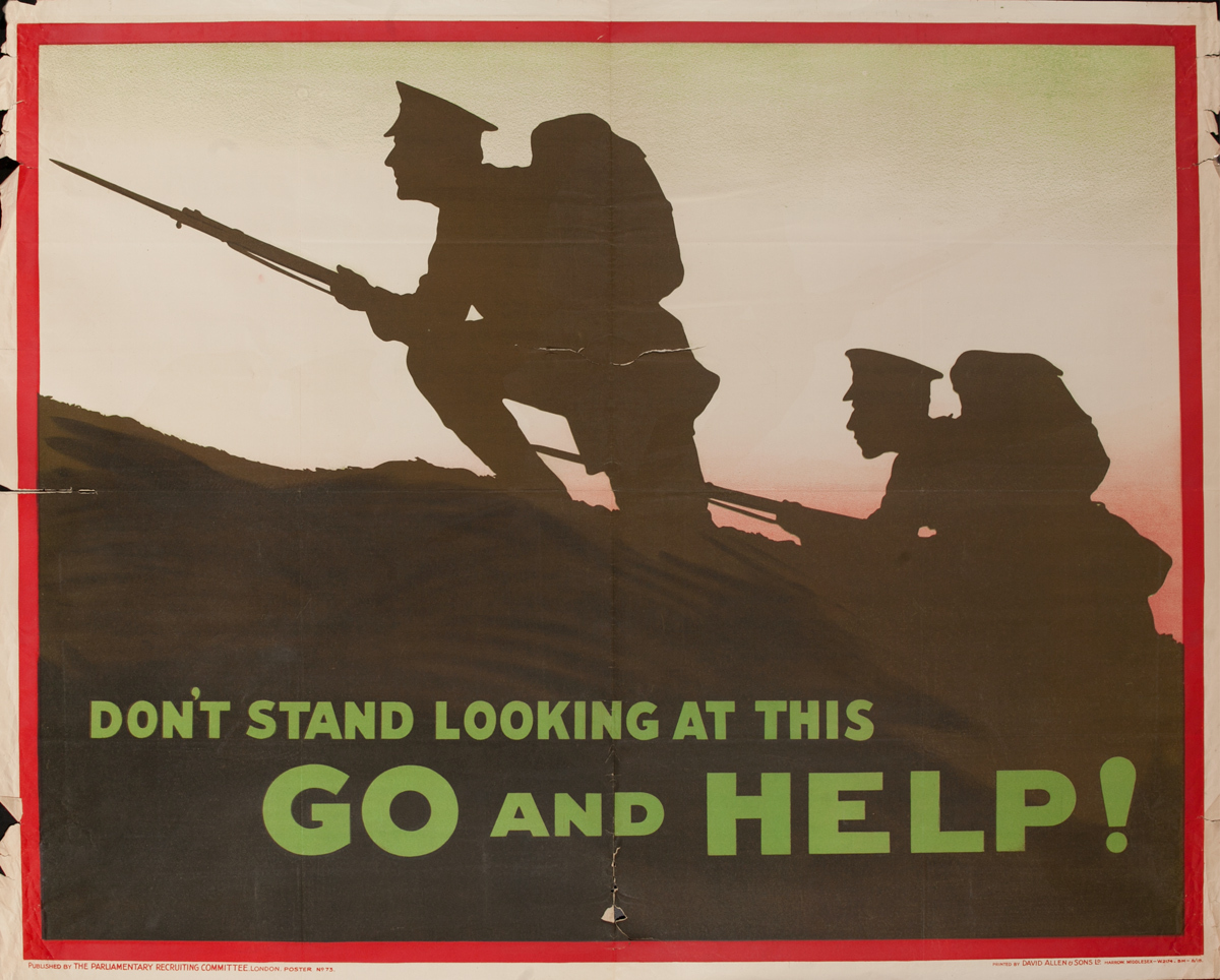 Don't Stand Looking at This, Go and Help!, Original British WWI Poster