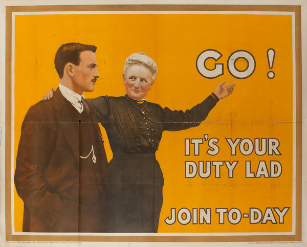 Go!, It's Your Duty Lad, Join To-Day, Original British WWI Poster