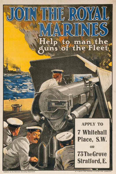 Join The Royal Marines, Help to man the guns of the Fleet, Original British WWI Poster