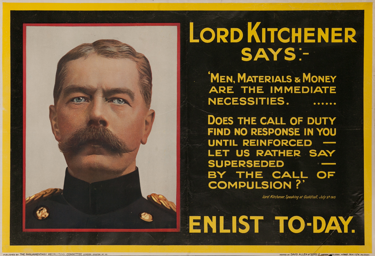 Lord Kitchener Says:- Men Materials & Money, Original British WWI Poster