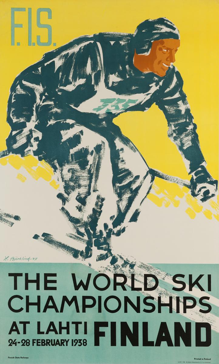 F.I.S., The World Ski Championships at Lahti Finland, 24-28 February 1938 Original Ski Poster