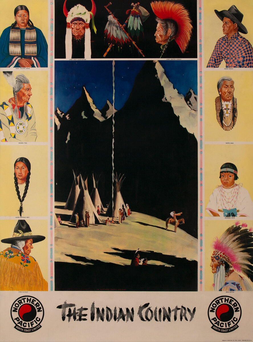 The Indian Country, Original Northern Pacific Railway Travel Poster