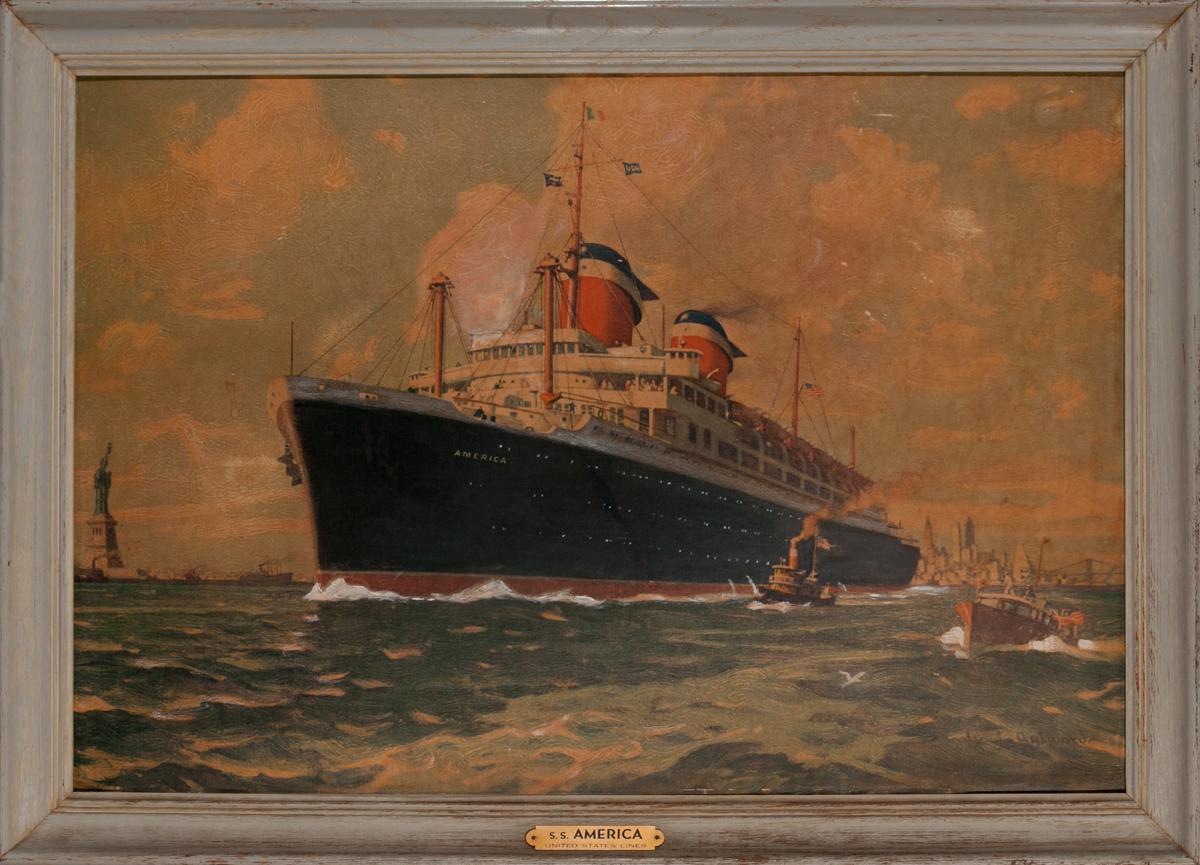 SS America United States Lines, Original Travel Agency Framed Poster