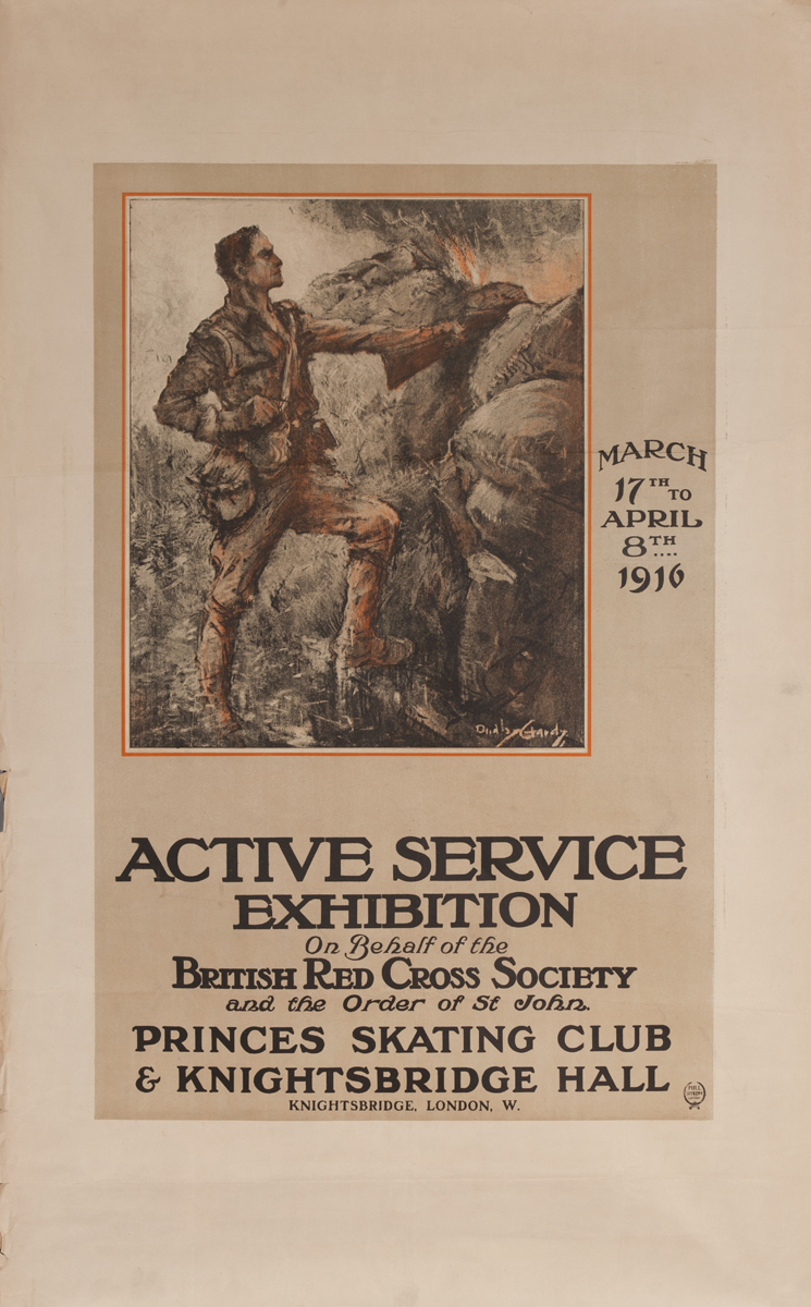 Active Service Exhibition On Behalf of the British Red Cross Society. Original WWI Poster