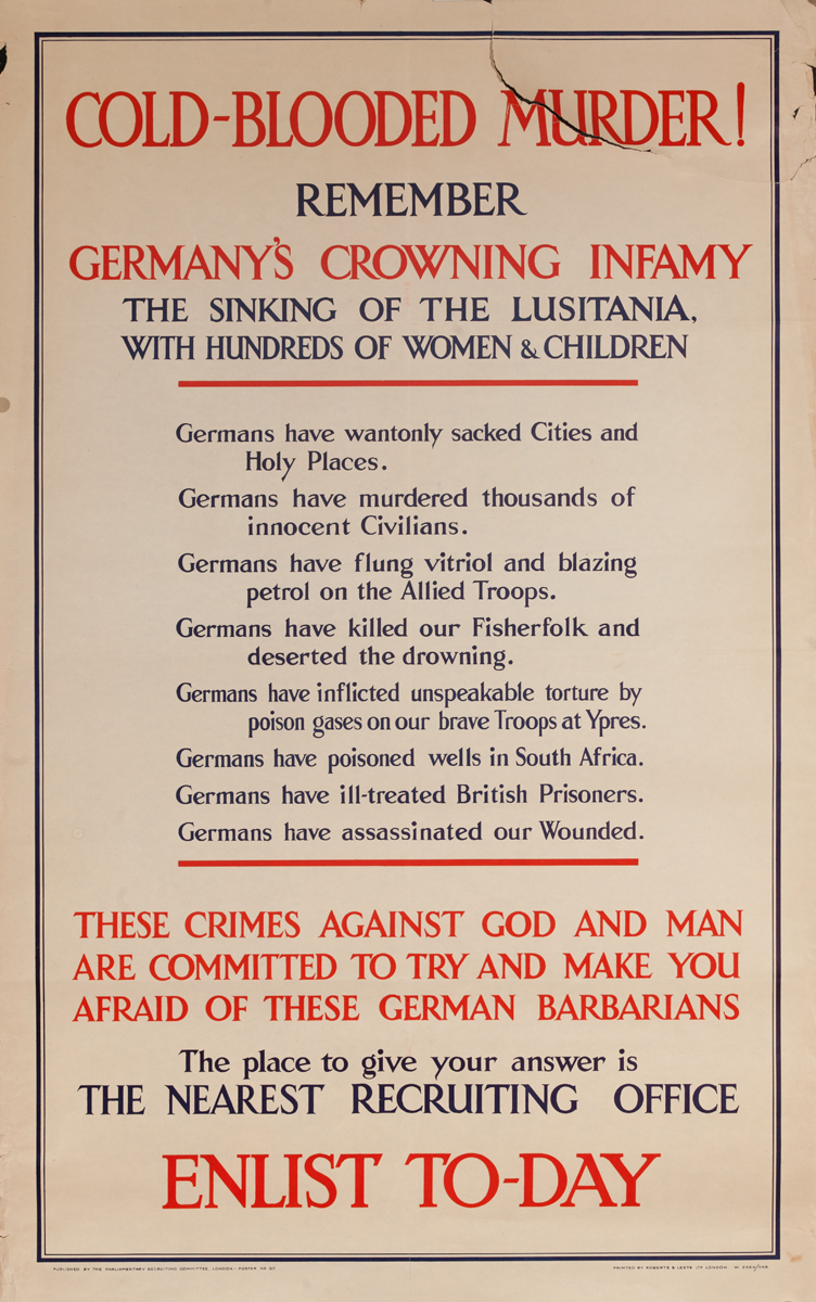 Cold Blooded Murder, Enlist To-Day, Original WWI British Poster