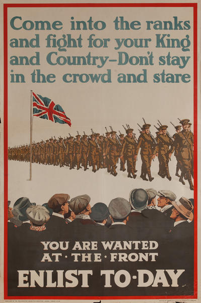 Come Into the Ranks, Enlist To-Day, Original WWI British Recruiting Poster