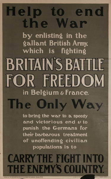 Help to End the War Original British WWI Recruiting Poster